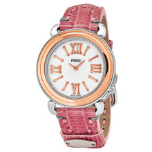 Fendi Women's F8012345H0.TS07 'Selleria' Mother of Pearl Dial Pink Leather Strap Swiss Quartz Watch