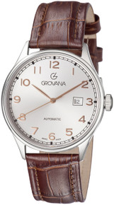 Grovana Mens 1190.2528 Silver Dial Brown Leather Strap Day Automatic Watch