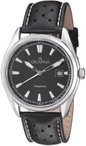 Grovana Mens 1584.1533 Black Dial Black/White Leather Strap Quartz Watch