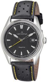 Grovana Mens 1584.1538 Black Dial Black/Yellow Leather Strap Quartz Watch