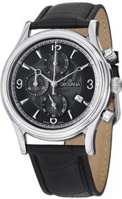 Grovana Men's Black Dial Black Leather Strap Chronograph Watch 1728.9537