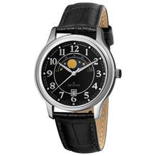 Grovana Men's 1026-1537 Moonphase Analog Display Swiss Quartz Black Watch