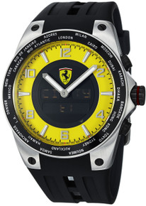 Ferrari Mens World Time Yellow Analog Digital Dial Swiss Made Watch FE05-ACC-YW