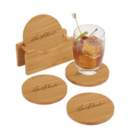 Round Bamboo Coaster Set with Holder