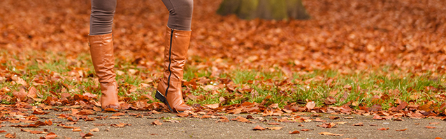 Woman wearing riding boots during Fall