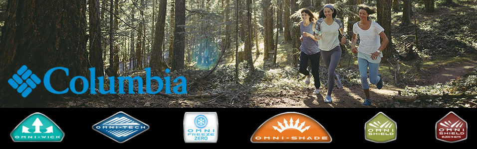 Three women running through the forest wearing Columbia apparel and shoes.