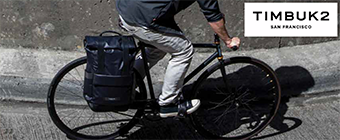 Man riding a bike wearing Timbuk2