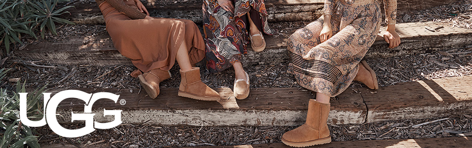 Group of women sitting outside on stone steps wearing UGG boots