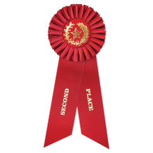 """8 1/2"""" 2nd Place Red Rosette Ribbon"""