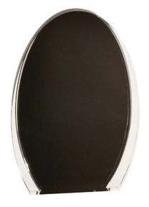 "8"" Black/Clear Luminary Oval Acrylic"