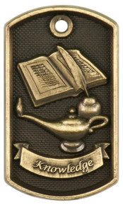 "2"" 3D Lamp of Knowledge Dog Tag"