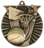 "2"" Gold Basketball Victory Medal"