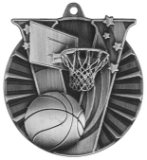 "2"" Silver Basketball Victory Medal"