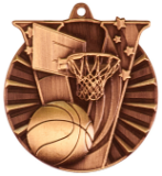 "2"" Bronze Basketball Victory Medal"