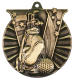 "2"" Gold Golf Victory Medal"