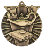"2"" Gold Lamp of Knowledge Victory Medal"