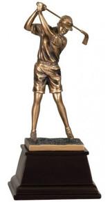 """9 1/2"""" Bronze Female Golf Resin Award"""