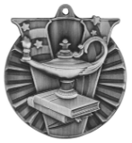 "2"" Silver Lamp of Knowledge Victory Medal"