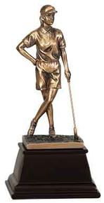 """9"""" Bronze Female Golf Resin Award"""