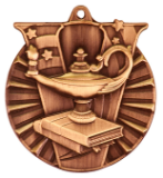 "2"" Bronze Lamp of Knowledge Victory Medal"