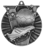 "2"" Silver Soccer Victory Medal"