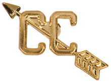 Gold Cross Country Metal Chenille Letter Insignia
