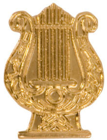 Gold Music Lyre Metal Chenille Letter Insignia