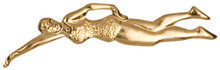 Gold Female Swimmer Metal Chenille Letter Insignia