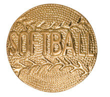 Gold Softball Metal Chenille Letter Insignia