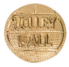 Gold Volleyball Metal Chenille Letter Insignia