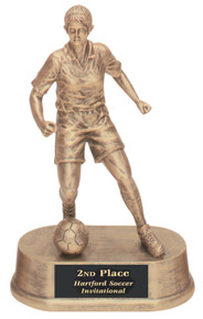 "7 3/4"" Antique Gold Female Soccer Resin"