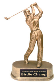 "9"" Antique Gold Female Golf Resin"