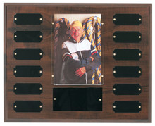 "12 Plate w/ 4"" x 6"" Photo Holder, Completed Cherry Finish Perpetual Plaque"