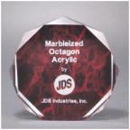 "5"" Red Marble Octagon Acrylic Award"
