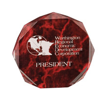 "6"" Red Marble Octagon Acrylic Award"