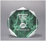 "6"" Green Marble Octagon Acrylic Award"