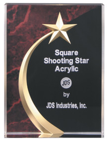 """6"""" Red Marble Square Shooting Star Acrylic"""