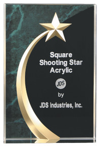 """6 3/4"""" Green Marble Square Shooting Star Acrylic"""