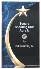 """7 3/4"""" Blue Marble Square Shooting Star Acrylic"""