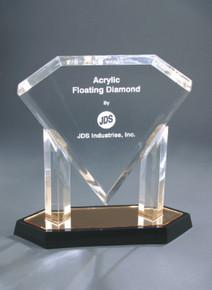 "10 3/4"" Gold Floating Diamond Acrylic"