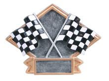 "4 1/2"" x 6"" Racing Crossed Flags Diamond Plate Resin"