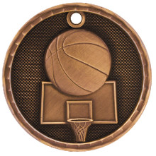 "2"" Bronze 3D Basketball Medal"