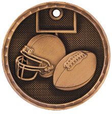 "2"" Bronze 3D Football Medal"