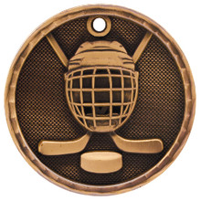 "2"" Bronze 3D Hockey Medal"