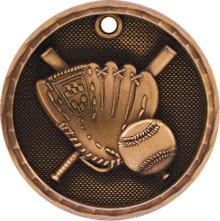 """2"""" Bronze 3D Baseball Medal"""