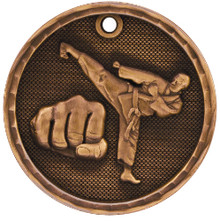 "2"" Bronze 3D Martial Arts Medal"