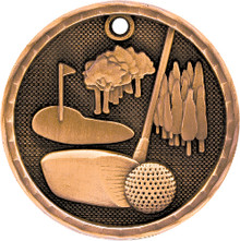 "2"" Bronze 3D Golf Medal"