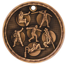 "2"" Bronze 3D Track and Field Medal"