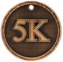 "2"" Bronze 3D 5K Medal"