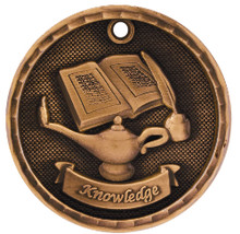 "2"" Bronze 3D Lamp of Knowledge Medal"
